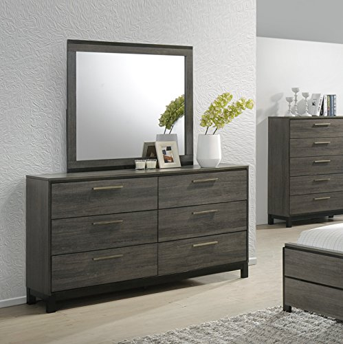 home & kitchen, furniture, bedroom furniture,  bedroom sets  on sale, Roundhill Furniture Ioana 187 Antique Grey Finish Wood Bed Room Set, Queen Size Bed, Dresser, Mirror, Night Stand in US3