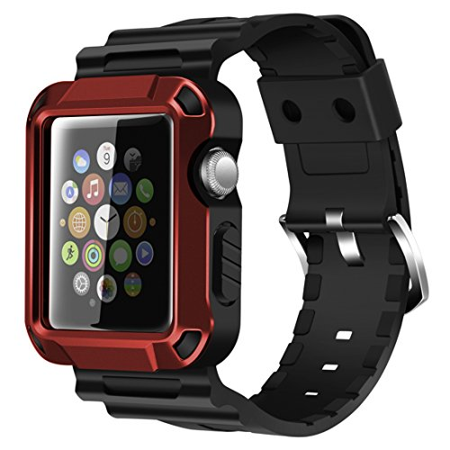 iiteeology Compatible with Apple Watch Band 42mm, Rugged Protective iWatch Case and Band Strap with Built-in Screen Protector for Apple Watch Series 3/2/1 (Red)