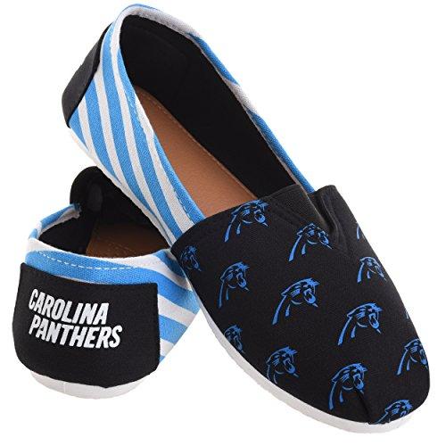 Nfl Kvinners Fotball Damer Lerret Slip-on Sommer Sko - Velg Laget Striper - Carolina Panthers