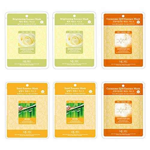 [Treatment Mask Brightening - Coenzyme - Snail Essence Face Facial Mask Package 6pcs - Korean Cosmetic Facial] (Deathstroke Costume Party City)