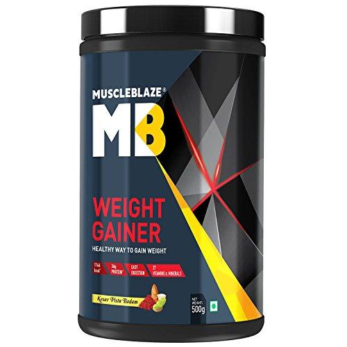 MuscleBlaze Weight Gainer with Added Digezyme  Kesar Pista Badam, 500 g / 1.1 lb, 5 Servings