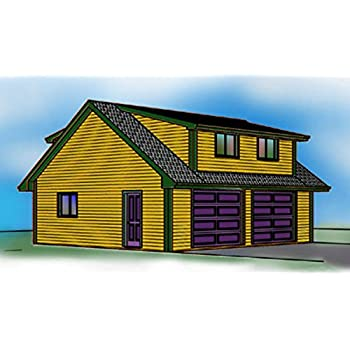 2 Story Garage Plans 2 Car Shed Roof Dormers 28 X 28 Amazon Com