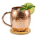 Designed with both temperature and taste in mind, these authentic copper mugs provide the truest Moscow Mule experience possible, with a pure copper hammered barrel, comfortable copper handle, a rivetless mug interior, and the perfect 16 oz. size in ...