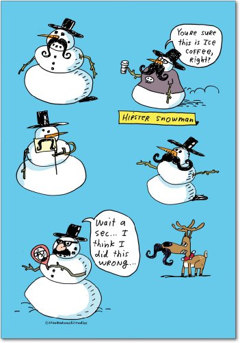 Papa Snowman - Stache-men - Pack of 12 Snowman Season's Greetings Cards with Envelopes (4.63 x 6.75 Inch) - Funny Snowmen Mustache, Christmas Notecard Set - Printed Xmas Note Card B5749