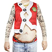 Faux Real Xmas Tattoo Santa Suit Printed T-Shirt, Adult Size Large Red