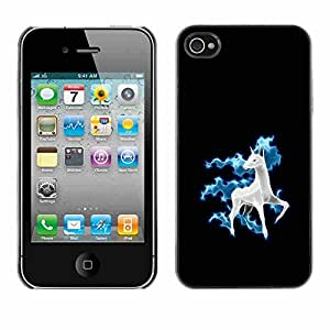 Shell-Star ( Cool Funny Cute Horse Unicorn Fancy ) Snap On Hard Protective Case For Apple iPhone 4 / 4S