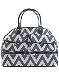 Ever Moda Chevron Womens Drop Bottom Duffel Bag 17 Inch (Grey)