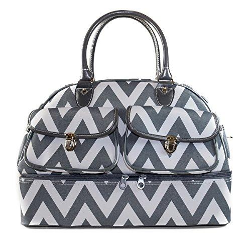 ever-moda-chevron-womens-drop-bottom-duffel-bag-17-grey-white