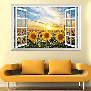 Amazon Com Wall Sticker 3d Fake Windows Sunflower Sun