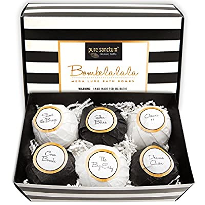 Bath Bombs Gift Set - Luxury Bath Fizzies - Lush Size 6oz Natural Bath Balls - US Made - Bombe la la la