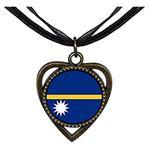 Chicforest Bronze Retro Style Nauru flag Heart Shaped Pendant