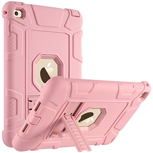 ULAK iPad Mini 4 Case, Mini 4 Kickstand Rugged Cover Full-Body Protection, Three Layer Heavy Duty Shockproof Bumper Cover for Apple iPad Mini 4 7.9 inch 2015 Release, (Rose Gold+Rose Gold)