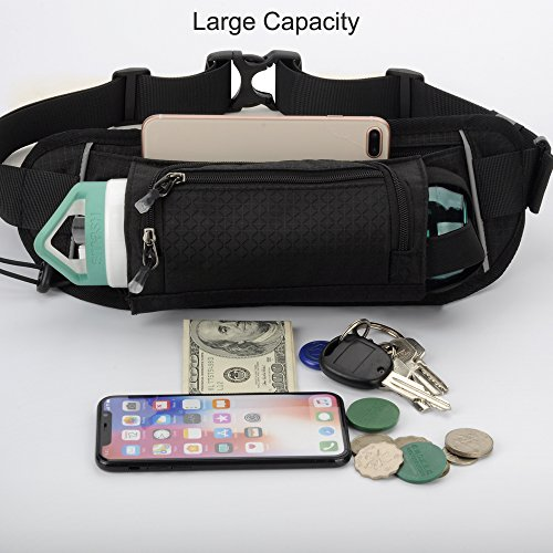 Sport Waist Bag Fanny Pack Black Waterproof, with Water Bottle Holder, for Men Women Running Hiking Cycling Climbing by JINGHAO (Image #6)