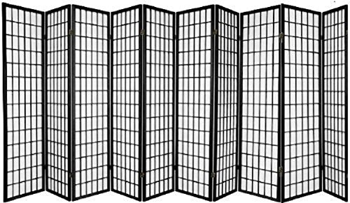 Panel Shoji Screen Room Divider 3 - 10 Panel (10 panel, Black, White, Cherry , Natural) 3 Panel Black Room Divider