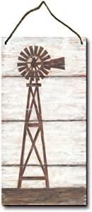 KPSheng Farmhouse Windmill Rustic Wood Hanging Sign Decorative Wall Decor 6x12 Inches