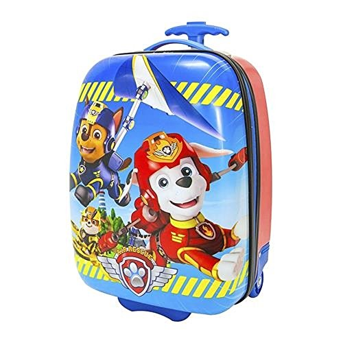 Nickelodeon Paw Patrol Design Carry On Rolling Backpack Kids Luggage, Bold Modern Hardside Graphic Flying Dogs Theme, Multi Compartment, Fashionable, Fun Animals Hard Travel Bag, Blue, Red, One Size by S&E