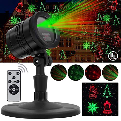Christmas Laser Lights, Projector for Outdoor Garden Decorations - Waterproof & Timer Preset, Red & Green Slide Show in Lawn, Landscape, Holiday Party and Houses (Best Christmas Light Projector)