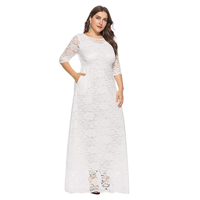 a577585f54a1 Vestido de Fiesta de Encaje Largos Manga Larga Elegante Talla Grande ...