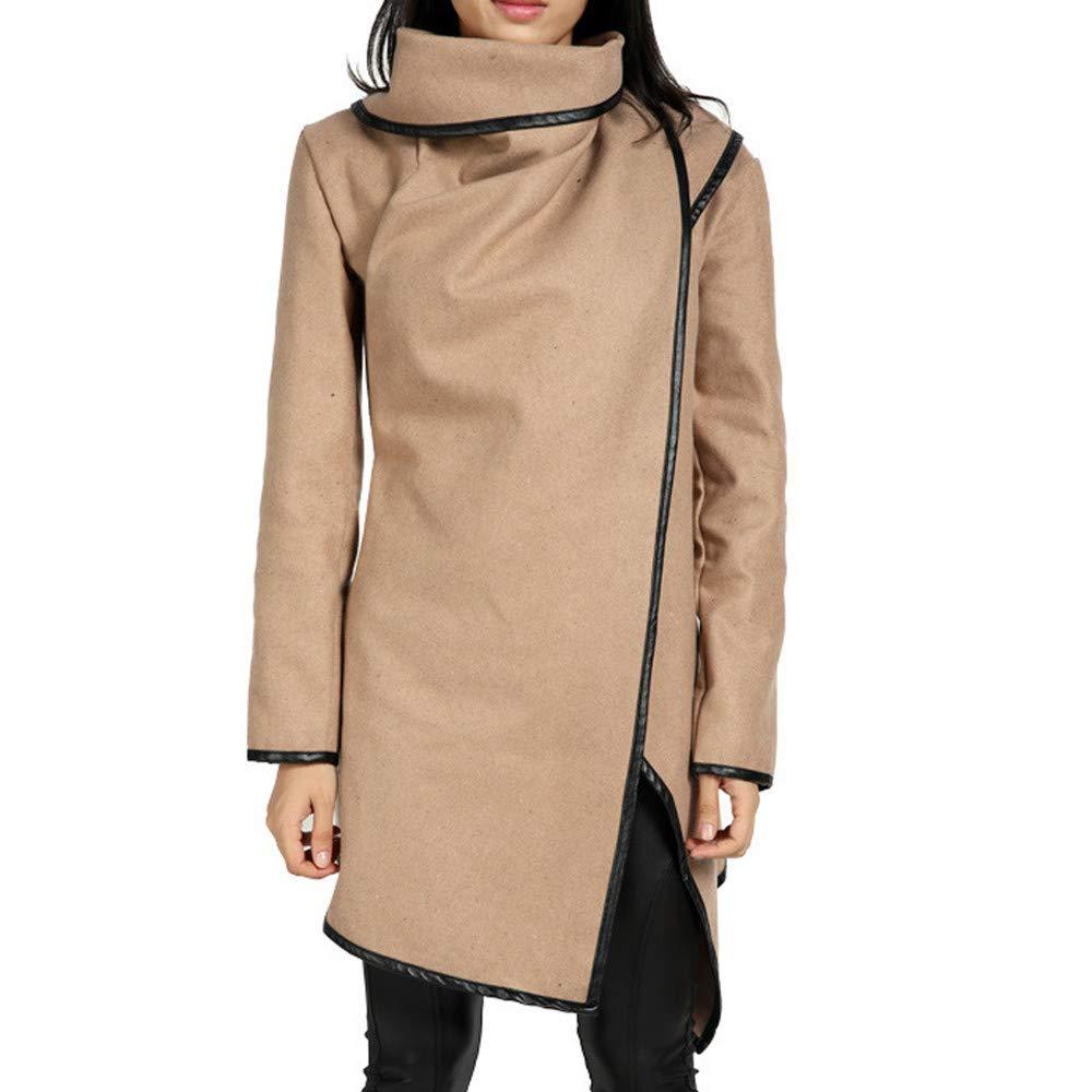 Winter Coats for Women Sale! Chaofanjiancai Irregular Bow Zippers Sleeve Long Warm Coat Wool Jacket Parka Windbreaker Khaki by Chaofanjiancai_Coat