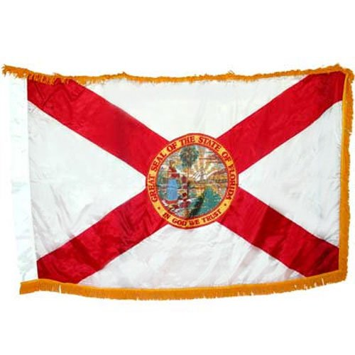 Image of Flags Valley Forge Florida Spec Flag 3x5 Foot Spectramax Nylon With Pole Hem & Fringe