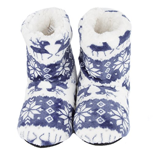 Leisureland Womens Fleece Lined Bootie Slippers Reindeer Blue aa80lSKU