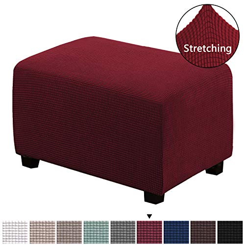 H.VERSAILTEX 1 Piece Form Fit Storage Ottoman Protect Covers for Living Room Footstool Footrest Covers Stretch Ottoman Slipcovers Removable Footstool Covers, Machine Washable, Burgundy, Large Size