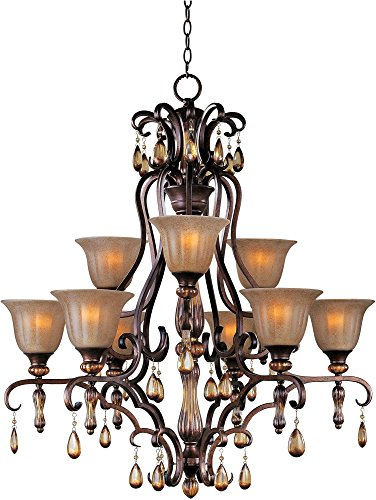 Maxim 22266EMFL Dresden 9-Light Chandelier, Filbert Finish, Ember Glass, MB Incandescent Incandescent Bulb, 60W Max, Dry Safety Rating, Standard Dimmable, Opal Glass Shade Material, Rated Lumens