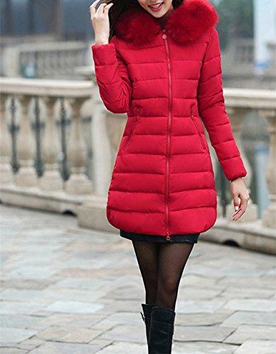señoras Acolchada Ladies Chaqueta sintética Scothen Capucha Parka Autumn Capucha Parka Winter Jacket Piel Chaqueta Invierno Las Coat de Winter Rojo Warm con Larga Capucha B1A5qAS