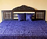 Indian Mirror and Patchwork Cotton Bedspreads (Blue)