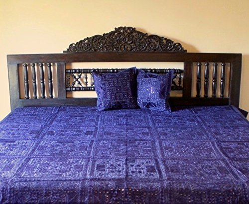 Indian Mirror and Patchwork Cotton Bedspreads (Blue) by Worldcraft Industries