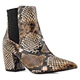 RF ROOM OF FASHION Pointy Toe Block Heel Chelsea Ankle Booties Light Brown Size.10