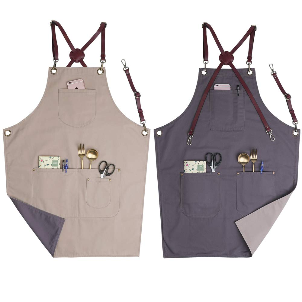 Vantoo Unisex Adjustable Camouflage Bib Apron with Pockets for Men and Women,Indigo Blue COMINHKPR102236