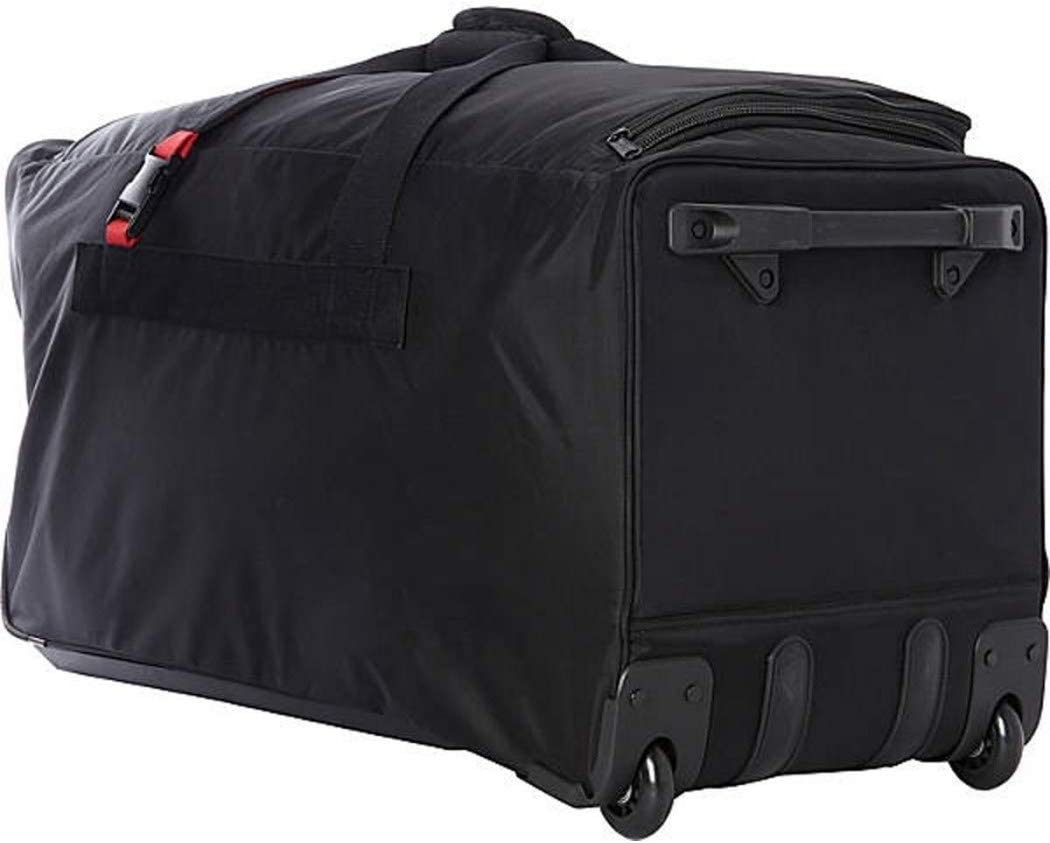 Wheeled Luggage Travel Upright Ballistic Nylon Black Red Rolling Duffel Bag