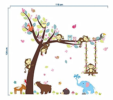 Homespun Forest Animals Tree wall stickers for kids room Monkey Bear Jungle wild Children Wall Decal Nursery Bedroom Decor Poster Mural 60 X 90 - Needle Felting Purse