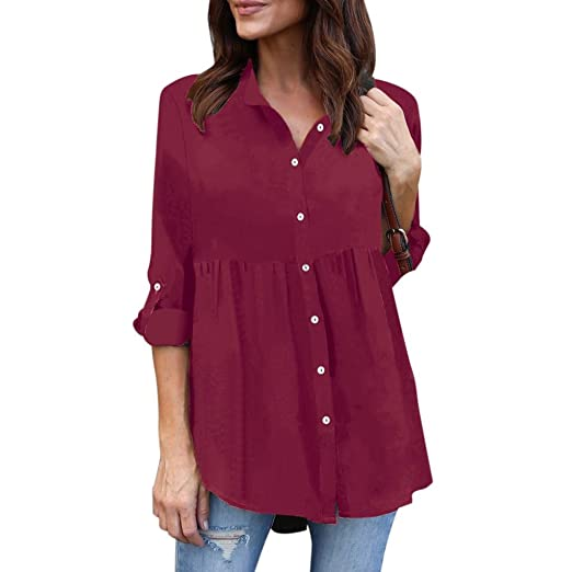 c4ec749931d Image Unavailable. Image not available for. Color  Kangma Women Ladies Plus  Size Solid Long Sleeve Casual Chiffon Work Blouse Button-Down Shirt