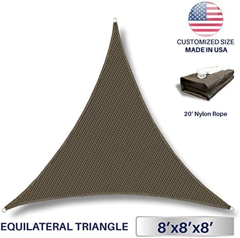 Windscreen4less 8 x 8 x 8 Triangle Sun Shade Sail – Brown Durable UV Shelter Canopy for Patio Outdoor Backyard – Custom