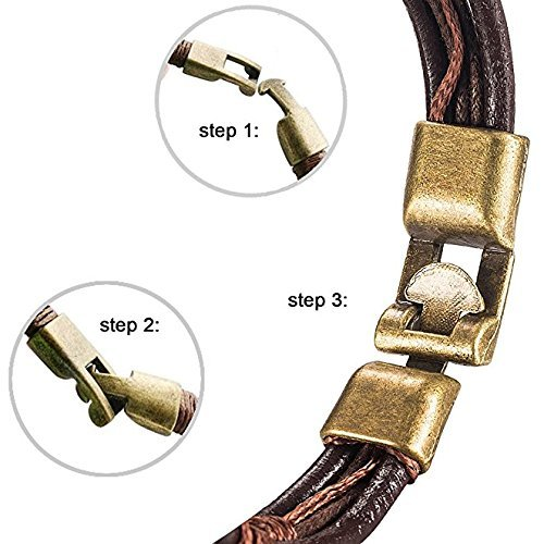 Leather Wrist,UHIBROS Mens Vintage Band Brown Rope Bracelet Bangle 8.5 Inch