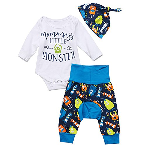 Newborn Baby Boy 3pc Daily Outfit Mommy's Little Monster Romper+Long Pants+Hat (12-18months, White)