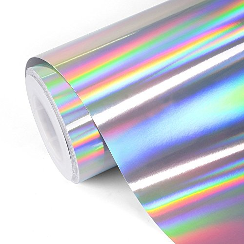 TECKWRAP Glossy Rainbow Holographic Silver Chrome Vinyl 1ftx5ft ()