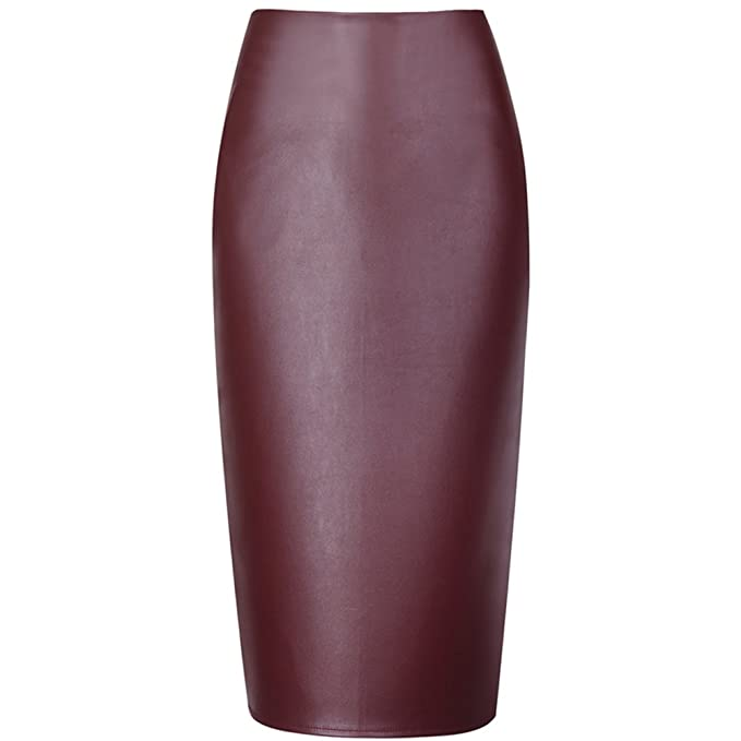 c4c4a7557 Women Summer Fashion Wine Red Faux Leather Pencil Skirt at Amazon ...