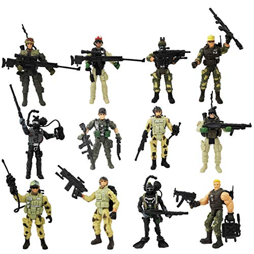 HAPTIME Soldier Action Figure Toy Army Men with Weapon Accessories/ SWAT Team Figure Military Playset for Boys Girls Children Kids 3 4 5 6 7 8 9 Years Old,Great as Christmas,Birthday Set of 12