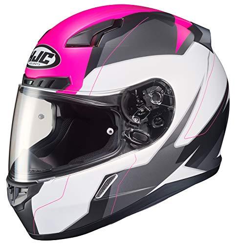 (HJC Unisex Adult Full Face CL-17 Omni Motorcycle Helmet MC-8SF White/Pink/Grey Large)