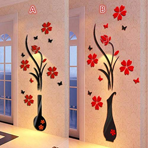 DIY Vase Flower Tree Crystal Arcylic 3D Wall Stickers Decal Home Decor@Home Decals for Wall Tile (Black)