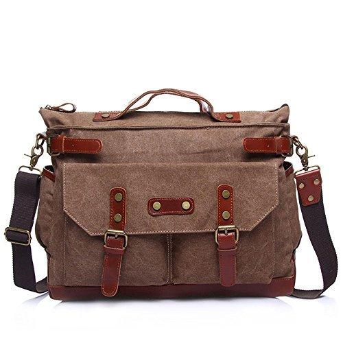 Sunbobo Bag Zipper Bag Retro Simple Canvas Shoulder Bag Brown Canvas