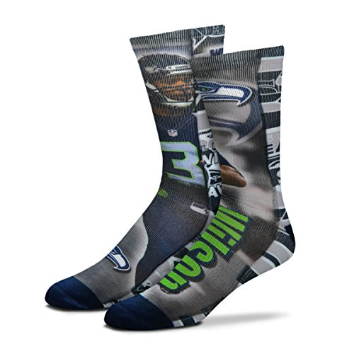 (For Bare Feet Seattle Seahawks 2018 Player Montage Russell Wilson Socks, Large)