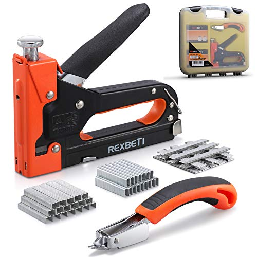 REXBETI Staple Gun, Heavy Duty 3 in 1 Staple Gun with 2600-Piece Staples for Upholstery, Fixing Material, Decoration, Carpentry, Furniture (Staple Gun+case+Remover)
