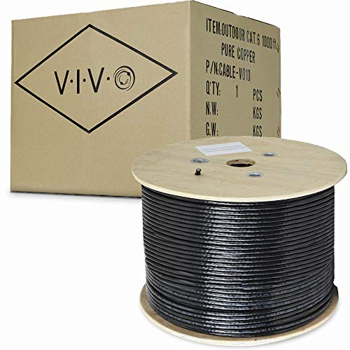 VIVO Black 1,000ft Bulk Cat6, Full Copper Ethernet Cable, 23 AWG | Cat-6 Wire, Waterproof, Outdoor, Direct Burial (CABLE-V010) ()
