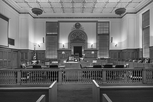 24 x 36 B&W Giclee Print of Courtroom at the Texarkana U.S. Post Office and Federal Building 2013 Highsmith 97a