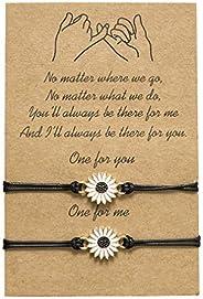 SOURBAN Wedding Handmade Sunflower Bracelet Boho Daisy Pendant Wax Braided Rope Adjustable Anklet for Girls