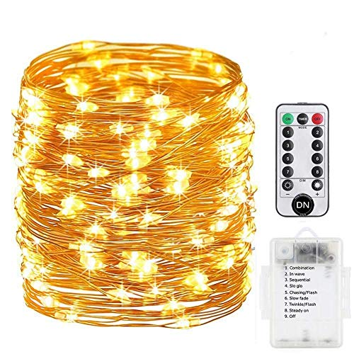 Daily-Necessities Battery Operated String Lights 33ft 100 LED Waterproof Dimmable Copper Wire with Remote Control,Suitable for Outdoor, Bedroom, Parties, Garden,Wedding (Warm White)